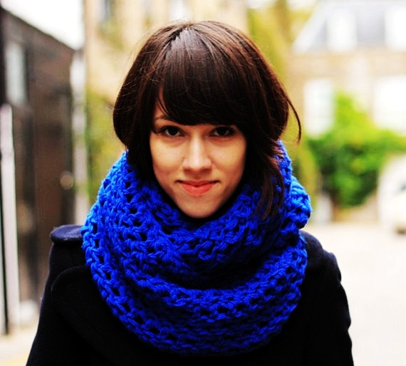 circle scarf infinity scarf snood royal blue autumn scarf-f78937