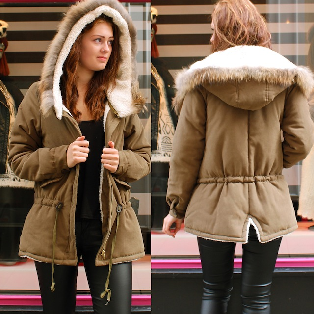 Womens Khaki Parka Jacket Fleece Lined Hood 443 fb