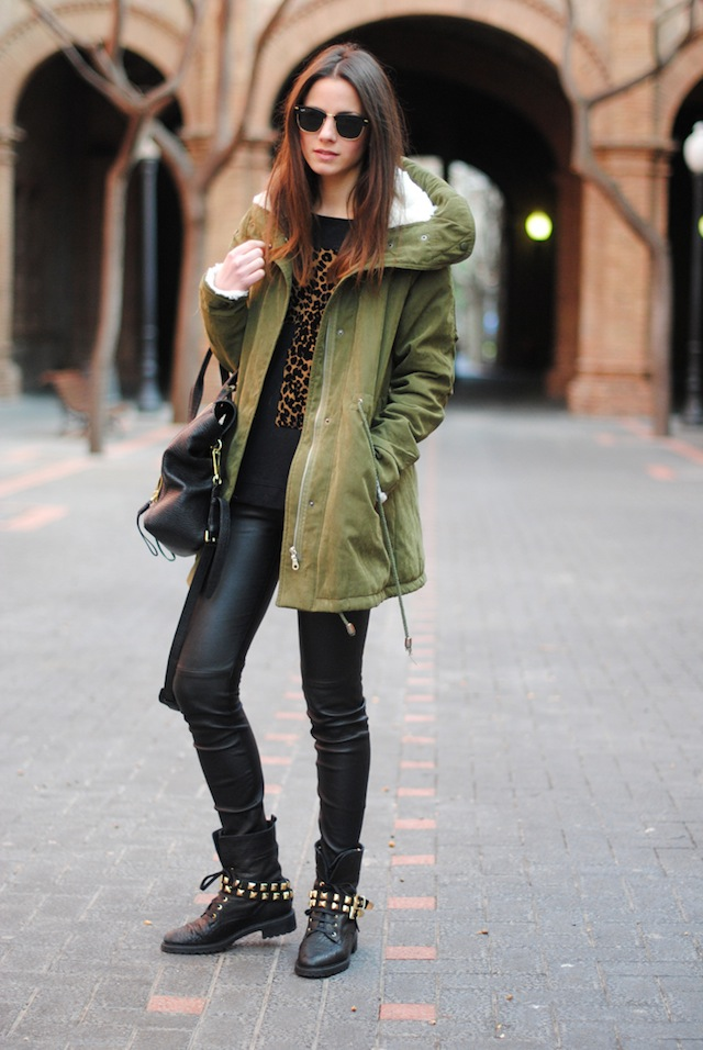 studded boots, greek khaki parka, leopard cross, phillip lim bag